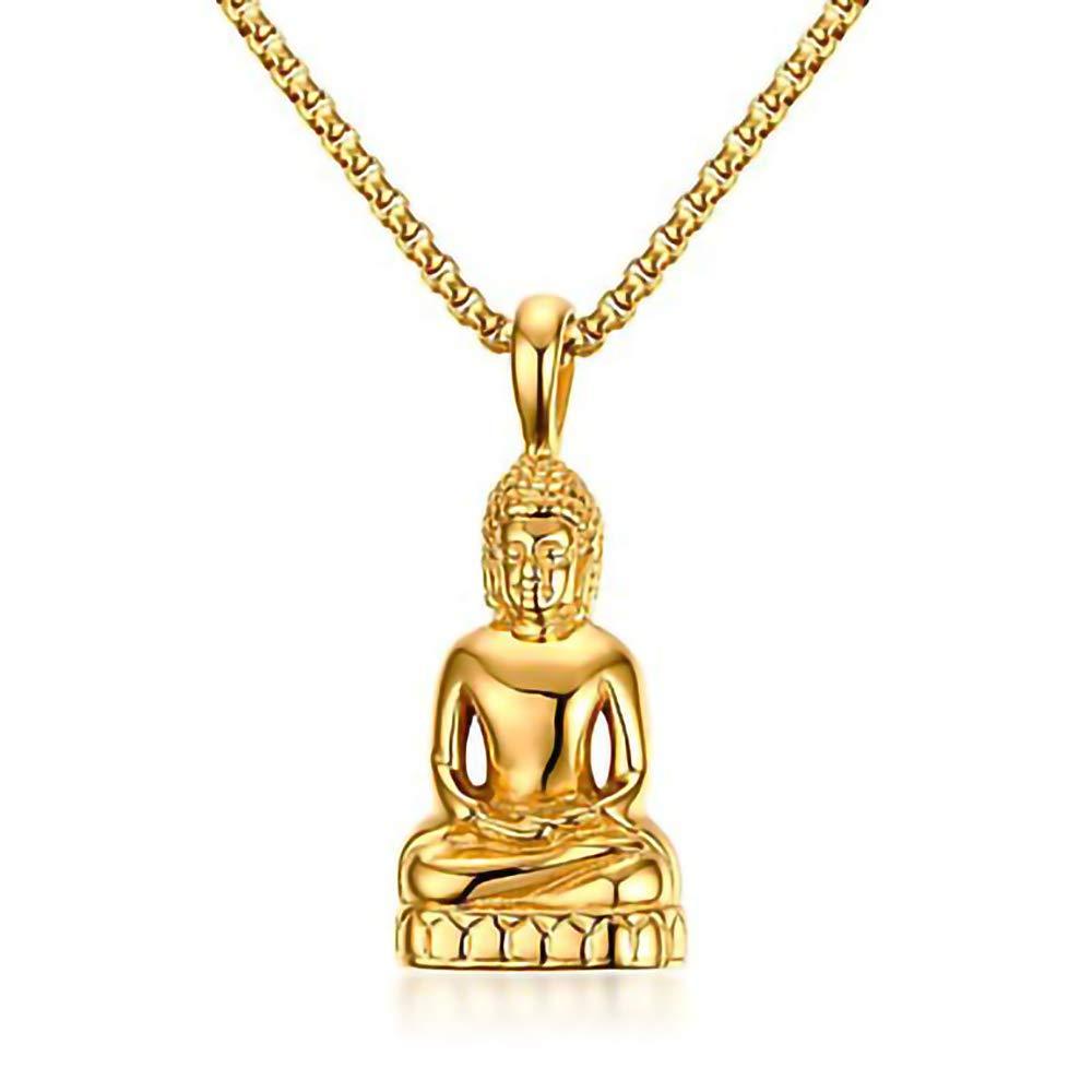 HKJCC Collier Pendentif pour Homme en Acier Inoxydable dor/é//argent/é avec Statue de Bouddha