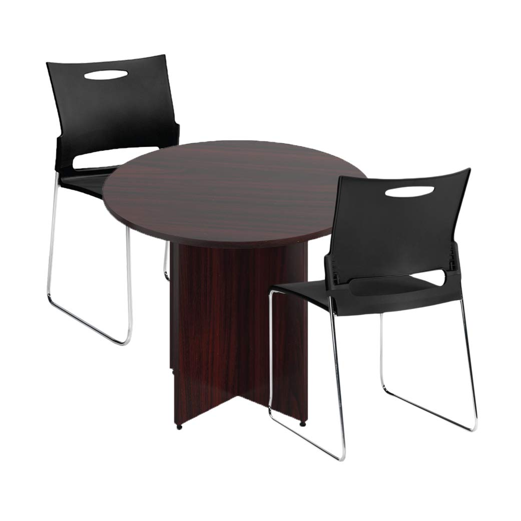 Walnut Sunon 41 3 Dia Round Conference Table With X Shaped Wood Panel Small Dining Table Sareg Com