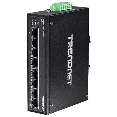 TRENDnet Network TI-PG80 8Port Hardened Industrial Gigabit PoE DIN-Rail Switch Retail