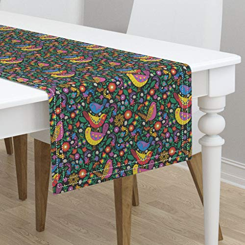 Table Runner - Birds and Blooms Design Challenge Folk Art Colourful Birds Floral Bright Spring by J9design - Cotton Sateen Table Runner 16 x 108