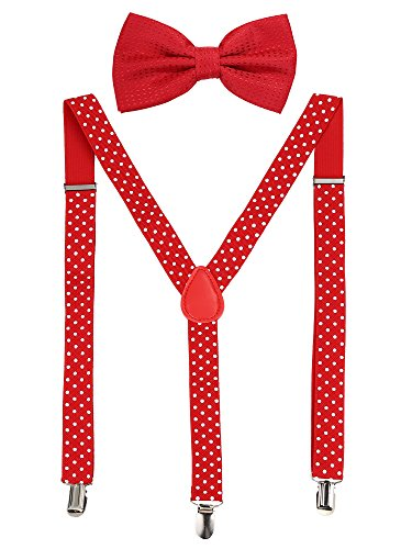 Suspender Bow Tie Set Clip On Y Shape Adjustable Braces, Pant Suspenders Shoulder Straps for Cosplay Party (Red with White Dots)