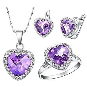 KNSAM Collar Plata Mujer, Conjunto de Collar Pendientes y Pulsera, Corazón Púrpura Cristal Juego de Joyas Tamaño 12: Amazon.es: Joyería