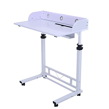 b2b6c0bc4fd3 Adjustable Height Rolling Laptop Desk Table Computer Desk for Writing  Reading and More Poarmeey (White)