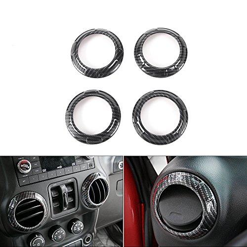 JeCar ABS Interior Air Condition Outlet Vent Cover Trims for 4pcs /Set Jeep Wrangler 2011-2017? Carbon fiber (Cover Set Carbon)
