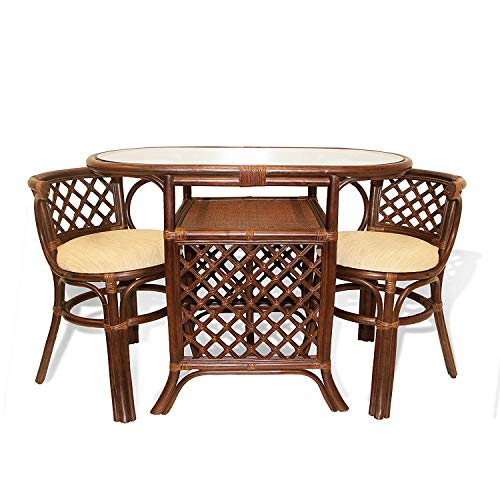 (Rich Dining Furniture Set 2 Chairs with Cushion Oval Dining Table ECO Rattan Wicker Color Dark Brown)