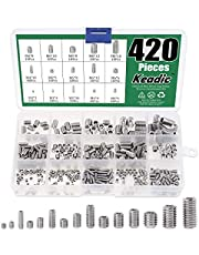 Keadic 420Pcs Internal Hex Drive Cup-Point Screws Assortment Kit with Plastic Case, 304 Stainless Steel, 15 Sizes M3/4/5/6/8 (Metric)