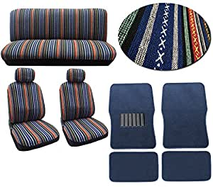 baja blue 12pc car seat cover set striped saddle blanket front low back bucket. Black Bedroom Furniture Sets. Home Design Ideas