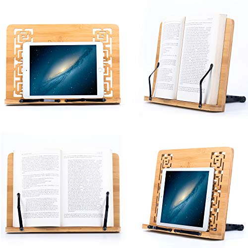 Reodoeer Bamboo Book Stand Reading Rest Cook Book Document Holder Foldable Pad Textbook Files Stand by Reodoeer (Image #2)