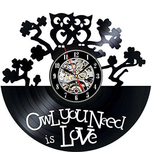 Owl You Need Is Love Decorative Vinyl Record Wall Clock This Clock Is A Unique Gift To Your Friends And Family For Any Occasion