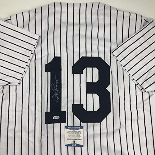 Autographed/Signed Alex Rodriguez New York Pinstripe Baseball Jersey Beckett BAS -
