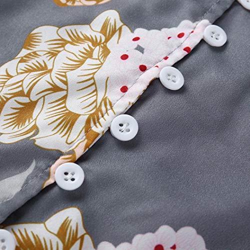 Manche Femme Fleur en Haut Longue Chemisier Guesspower Floral Femme Shirt Femme Col Tee Casual Blouse V imprim Chic Femme Mousseline Gris Vintage Chemise Tops EC0nq