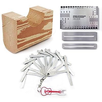 Son Strummer Set of 14 Premium Luthier Tools - Kit Includes String Action Gauge Ruler, 9 Understring Radius Gauge, Pin Puller, Neck Rest & 2 Fingerboard Fret Protector Guards for Guitar, Bass...