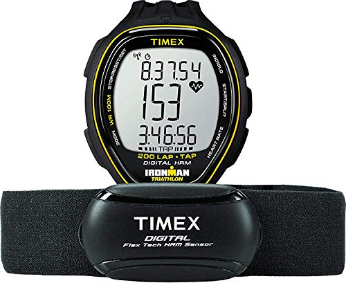 Timex Men's T5K726 Ironman Target Trainer Heart Rate Monitor TapScreen Black/Yellow Resin Strap Watch