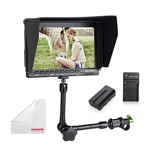Feelworld FW759 7 Inch IPS On-Camera Field Monitor with 2200mAh Battery Kit, 11'' Magic Arm, Sunshade, Mini HDMI Cable and Pergear Cloth for for BMPCC 5D2 5D3 7D 60D 550D D7000 D800 D90 A7S FS7 GH4 by PERGEAR