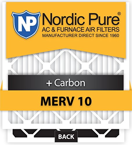 Nordic Pure 16x20x1M10+C-6 MERV 10 Plus Carbon AC Furnace Air Filters, Qty 6