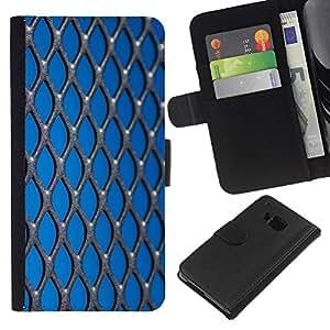 [Neutron-Star] Modelo colorido cuero de la carpeta del tirón del caso cubierta piel Holster Funda protecció Para HTC One M9 [Opresión Libertad Azul metal]