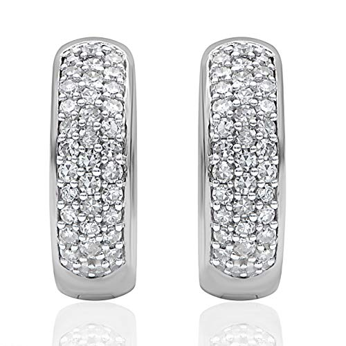1/2 Carat Natural Diamond Earrings 10K White Gold (HI Color, I3 Clarity) Diamond Huggie Earrings for Women Diamond Jewelry Gifts for Women