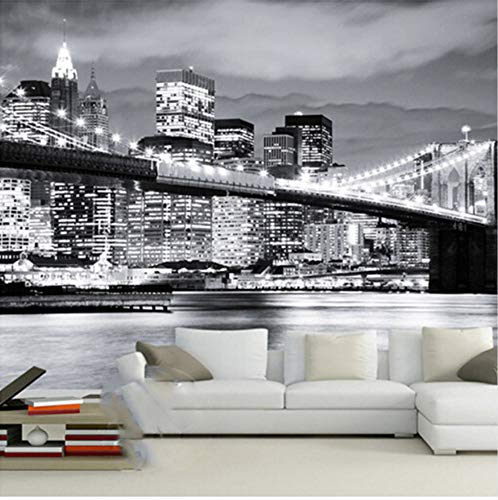3D Stickers Wallpaper Decorations Wall Murals Graphic Background Modern City European and American Night View Bridge Manhattan Living Room Sofa Art Girls Bedroom - Cars Manhattan Motor