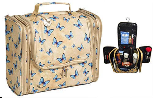 (Palcovi Butterfly Large Capacity Hanging Toiletry Bag Premium Large Travel Essentials Organizer - Dopp Kit - Durable Metal Hook - Perfect for Full-Sized Toiletries. Pattern: Butterflies)