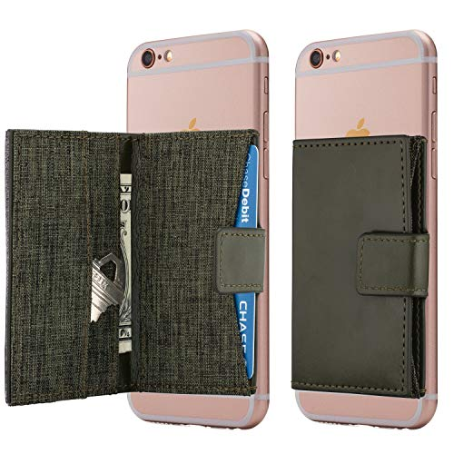 Cell Phone Card Holder Stick on Wallet Phone Pocket for iPhone, Android and All Smartphones (Olive Green)