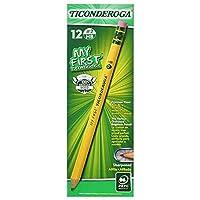 Mis primeros lápices con tapa de madera de Ticonderoga, # 2 HB Suave, previamente afilados, con borrador, amarillo, 12 unidades (33312)