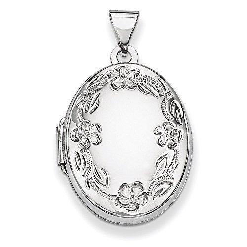 14Ct or blanc 21 mm h médaillon fleurs motif feuillage scroll étroitement jewelryWeb -