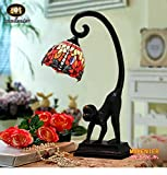 Makenier Vintage Decorative Tiffany Style Stained Glass Red Dragonfly Monkey Base Table Lamp - 7 Inches Shade