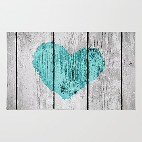 Society6 Teal Rustic Heart On Country Wood Rug 3' x 5'