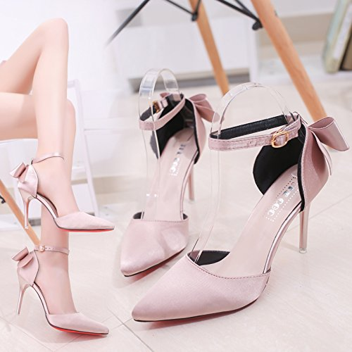 SHOESHAOGE Noeud Papillon Doux High-Heel Shoes Détails Sangle Crénelé Et High-Heeled Rose Sandales Baotou EU40 fpvijWA