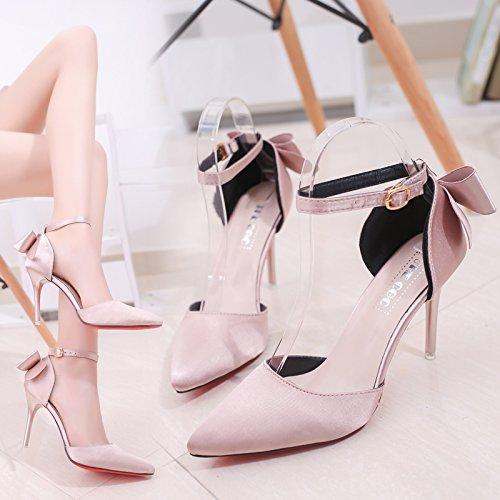 Crénelé High Heeled Rose Papillon High Noeud SHOESHAOGE Baotou Sandales Sangle Doux Shoes EU34 Heel Et Détails vU8f4q