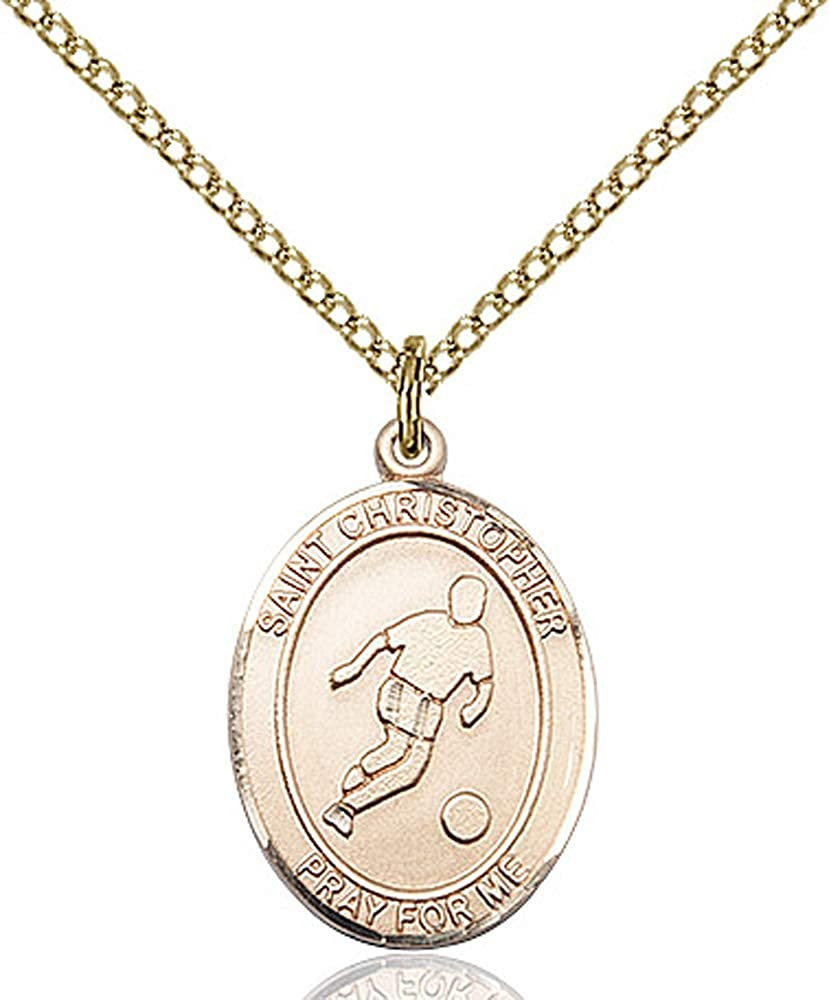 14kt Gold Filled St GF Lite Curb Chain Patron Saint Travelers//Motorists 3//4 x 1//2 Christopher//Soccer Pendant