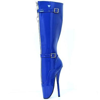 0a6f9d3c00be JiaLuoWei Women High Heels Boots Lockable Zipper Knee High Boots 18cm High  Heel(5)