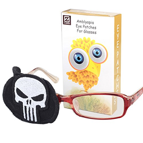 Plinrise Pure Cotton Amblyopia Eye Patch For Glasses,Treat Lazy Eye,Amblyopia And Strabismus,Children Eye Patch With Cartoon Sticker (Skull,Right)