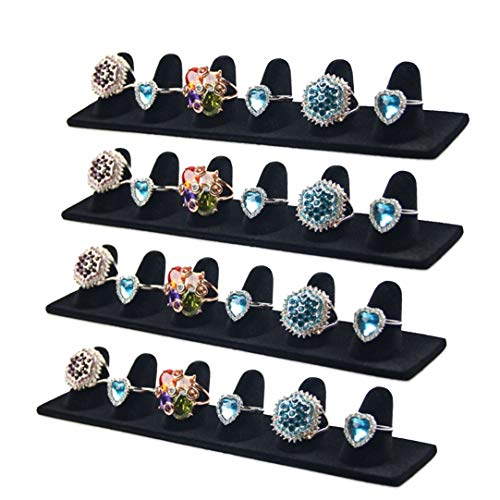 JIFF Black Velvet 6 Finger Ring Showcase Display Jewelry Organizer Stand Jewelry Holder 4 pack-Black, 6 Fingers Ring Showcase
