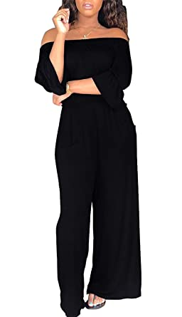 a982aab47b4 Amazon.com  VLUNT Women Casual Off Shoulder Loose Fit Jumpsuit Bell Sleeve Wide  Leg Long Pants Romper  Clothing