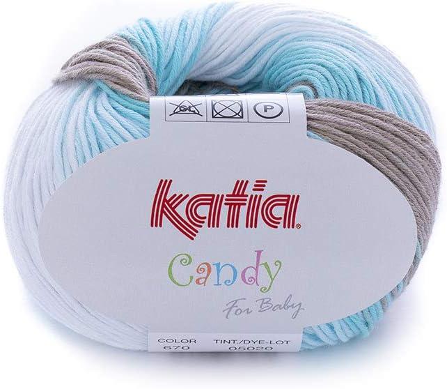 Katia Candy Fb 670 bebé lana algodón hilo de algodón con degradado: Amazon.es: Hogar