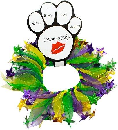 Mardi Gras Party Dog Collar- Smoocher Green & Purple Stars (Small (8