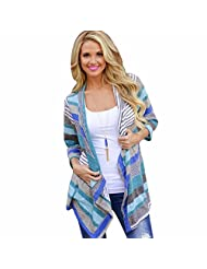 Kregis Women Multi-colored Stripes Splicing Sleeve Cardigan Jacket