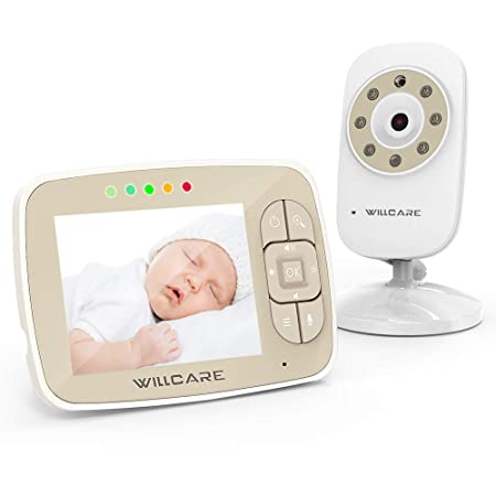 Baby Monitor with Camera and Audio – Video Baby Monitor with 3.5 LCD Screen Keep Babies Safe with Two-Way Talk Back, Night Vision, Lullabies, Temperature Monitoring
