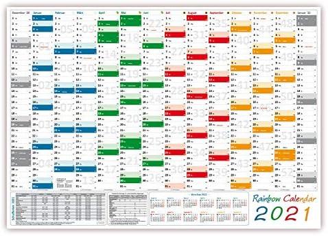 Rainbow Wandkalender/Wandplaner 2021 (gefaltet) DIN A2 Format (420 x 594 mm) mit 14 Monaten, kompletter Jahresvorschau 2022 und Ferientermine/Feiertage aller Bundesländer
