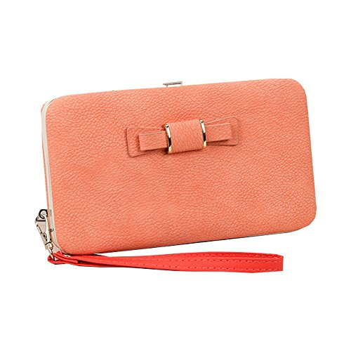 Price comparison product image Women Girl Bowknot Phone Zipper Wallet with Detachable Wriststrap