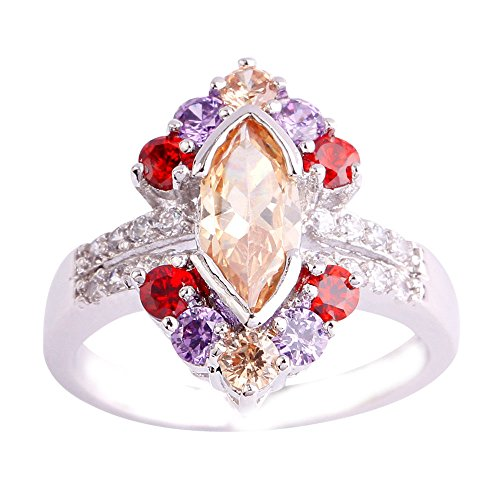 Empsoul 925 Sterling Silver Natural Chic Fiiled Morganite & Amethyst & Garnet Engagement Ring Floral Shaped