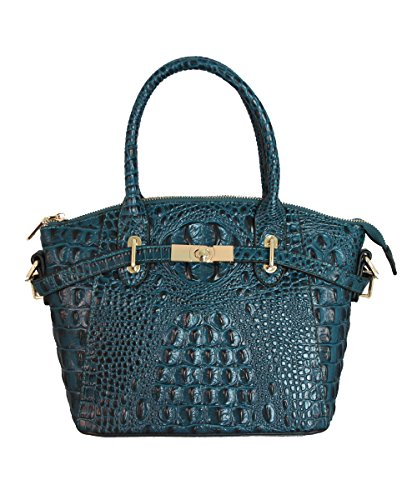 FIORI EE0019 Navy Blue Genuine Crocodile Pattern Cow Leather (Crocodile Genuine Handbag)