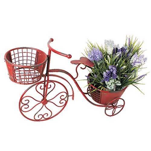 Garden Bicycle (Waroom Bicycle Plant Stand Flower Pot Holder Display Rack Metal Bike Frame Decorative Indoor Outdoor Garden Yard Planter (Red))