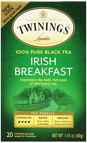 Twinings Black Tea, Irish Breakfast, 20 Count Bagged Tea (6 Pack)