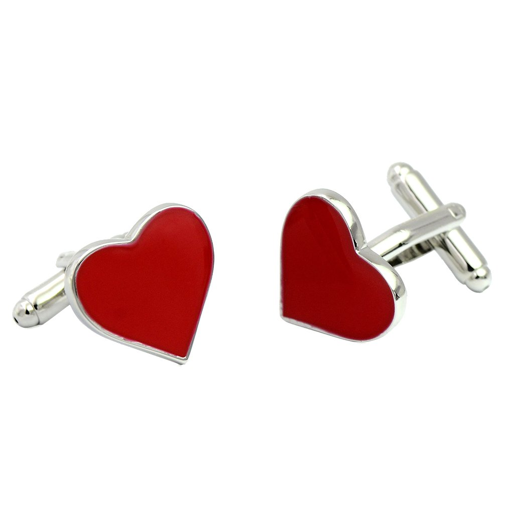 ENVIDIA Red Heart-Shaped Valentine Love Cufflinks Wedding Party Gifts With Box by ENVIDIA (Image #2)