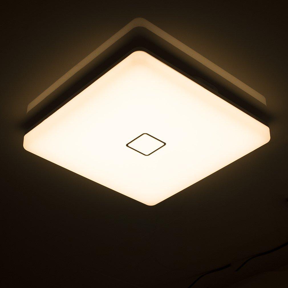 Öuesen 24W moderno impermeabile LED Lampada a soffitto piazza sottile plafoniera a filo 2050lm dimmerabile 3000K-5000K-4000K plafoniere a led per Soggiorno Sala da pranzo Camera da letto Bagno Cucina Balcone Corridoio [Classe di efficienza energetica A++]