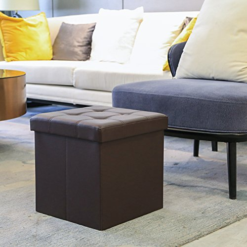 Amoiu 15'' x 15''x 15'' Folding Storage Ottoman Cube Foot Rest Stool Seat Coffee Table - Faux Leather, Brown by Amoiu (Image #7)