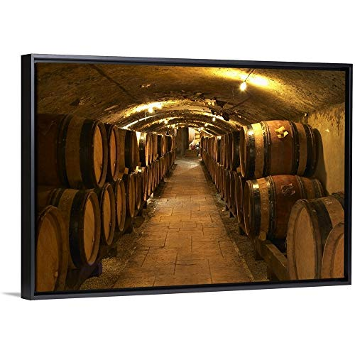 """Per Karlsson Floating Frame Premium Canvas with Black Frame Wall Art Print Entitled Wooden Barrels with Aging Wine in The Cellar of Guigal in Ampuis, Cote Rotie, France 24""""x16"""""""