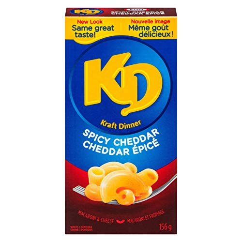 Kraft Dinner Spicy Cheddar Macaroni & Cheese, 156g (Pack of 12), Imported from Canada} (Kraft Dinner From Canada)